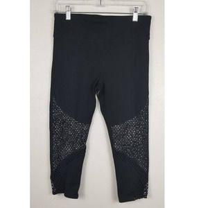 Fabletics Black/White Capri Leggings M